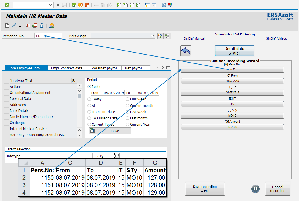 Recording in SAP for automatic data import from Excel with the SimDia² Recording Wizard