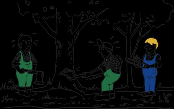 Hilfreiche Person macht Arbeit einfacher für 2 Holzfäller mit stumpfen Äxten, indem sie ihnen eine Kettensäge anbietet