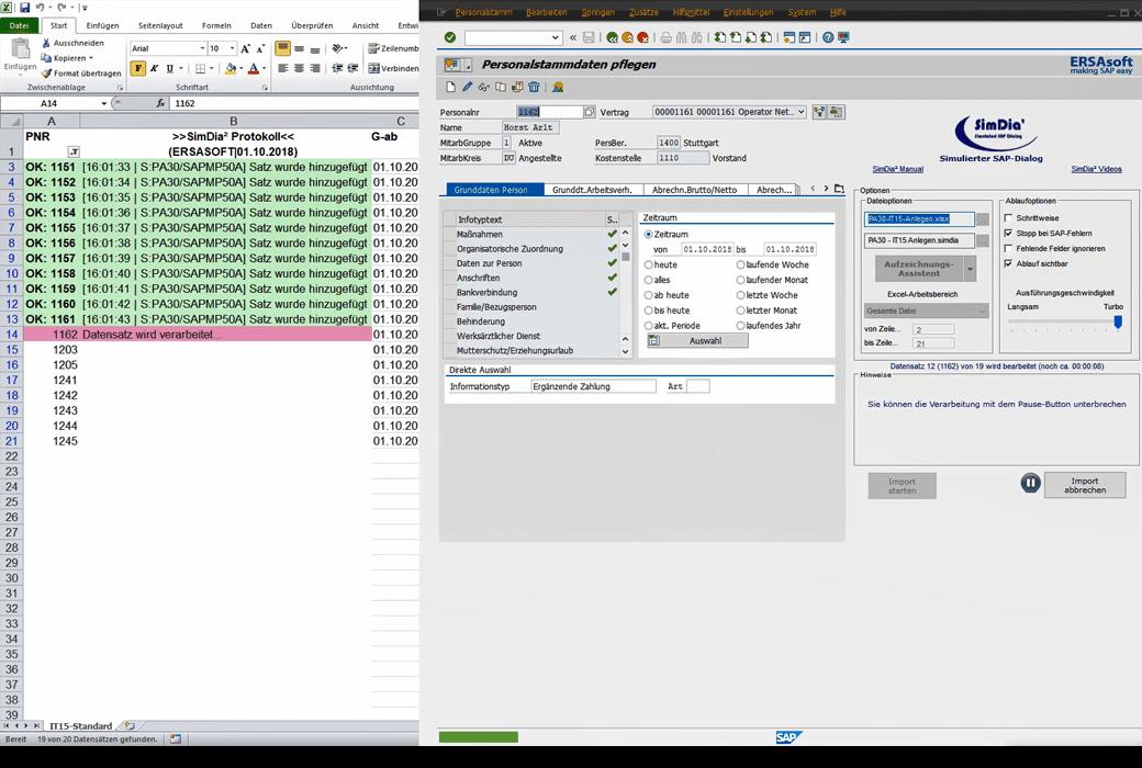 Automatischer Datenaustausch-Prozess zwischen Excel und SAP durch SimDia² mit revisionssicherer Protokollierung