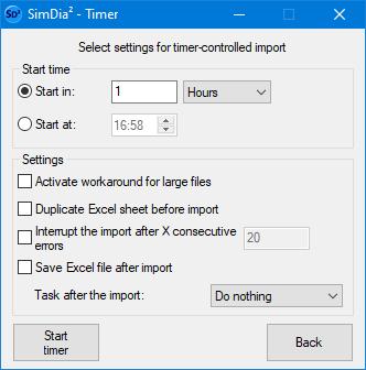 timer options